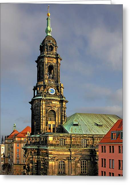 Deutschland Photographs Greeting Cards - Dresden Kreuzkirche - Church of the Holy Cross Greeting Card by Christine Till