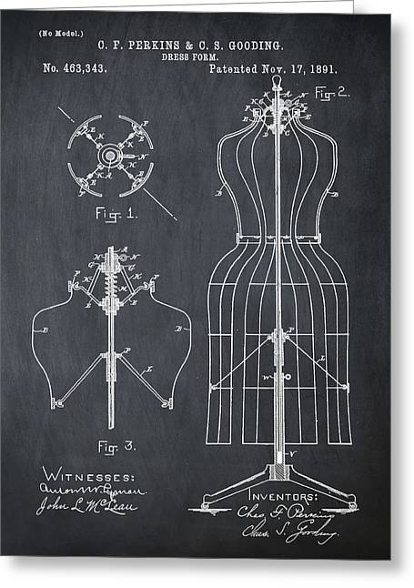 Dress Form Patent 1891 Chalk Greeting Card by Bill Cannon