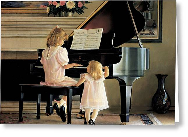 Little Girl Greeting Cards - Dress Rehearsal Greeting Card by Greg Olsen