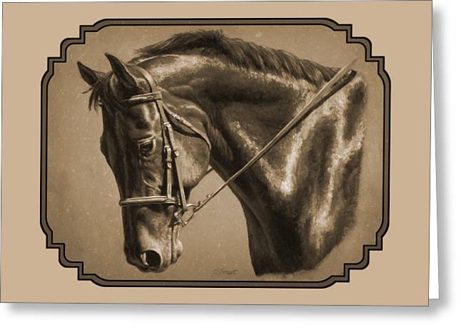 Chestnut Horse Greeting Cards - Dressage Horse Sepia Phone Case Greeting Card by Crista Forest