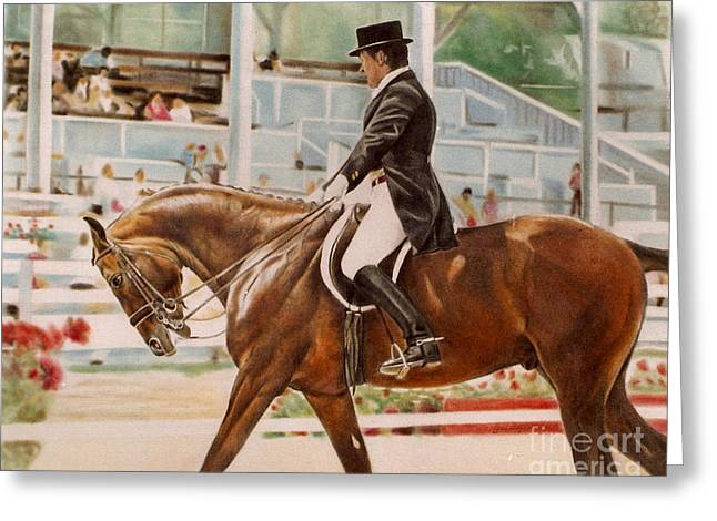 Dressage Pastels Greeting Cards - Dressage Rider Greeting Card by Gail Dolphin
