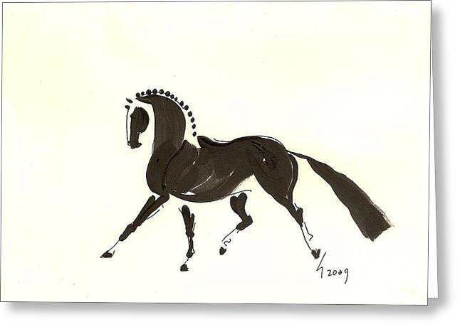Dressage Trot Greeting Card by Liz Pizzo