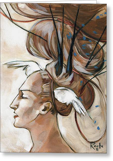 Woman Head Greeting Cards - Dressing Greeting Card by Jacque Hudson