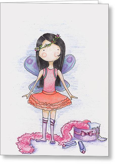 Pretends Art Greeting Cards - Dressing Up Greeting Card by Sarah LoCascio