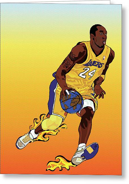 La Lakers Greeting Cards - Dribbling the world Greeting Card by Paul  Arm