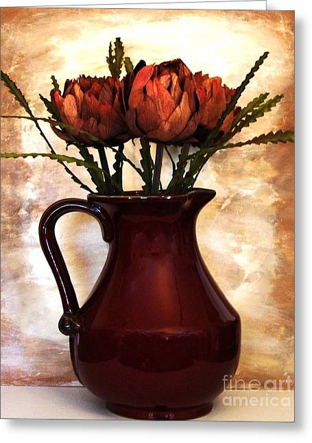 Pottery Pitcher Greeting Cards - Dried Artichokes Greeting Card by Marsha Heiken