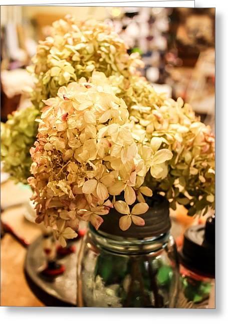 Dried Hydrangeas Greeting Cards - Dried Hydrangeas in a Ball Jar Greeting Card by Cynthia Woods