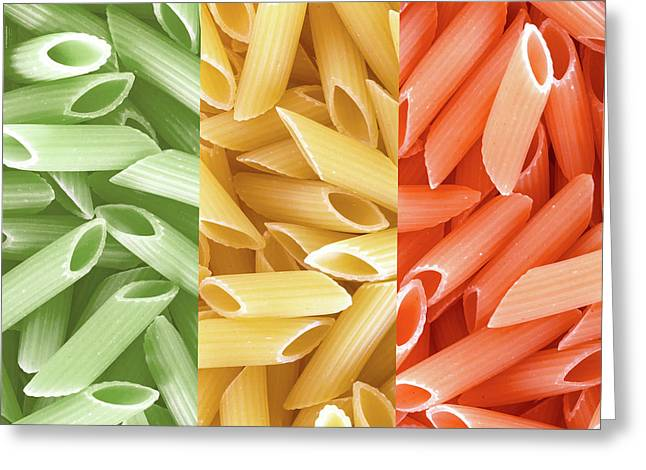 Dried Pasta In Italian Flag Colors Greeting Card by Germano Poli