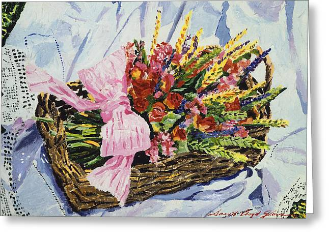 Dried Rose Basket On Lace Greeting Card by David Lloyd Glover