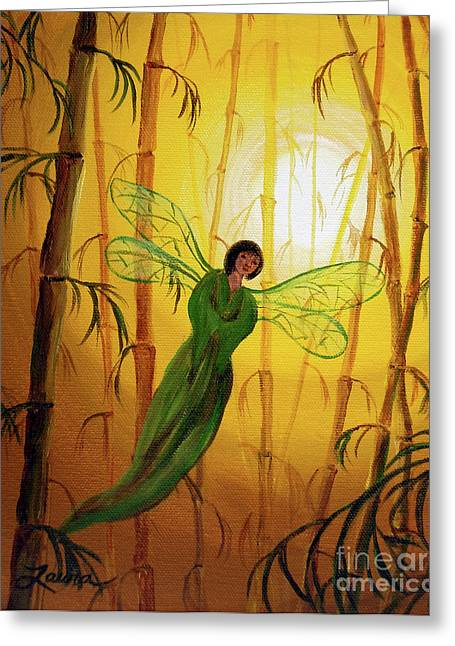 Dragonflies Greeting Cards - Drifting Bamboo Spirit Greeting Card by Laura Iverson