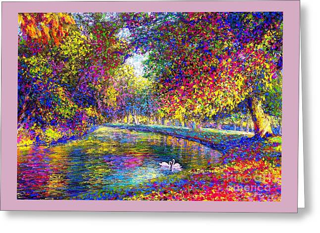 Drifting Beauties, Swans, Colorful Modern Impressionism Greeting Card by Jane Small