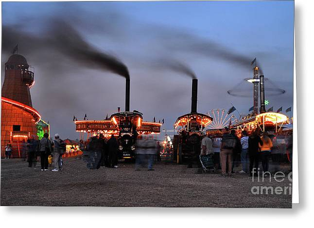 Helter-skelter Greeting Cards - Drifting steam at the Fair Greeting Card by Rob Hawkins