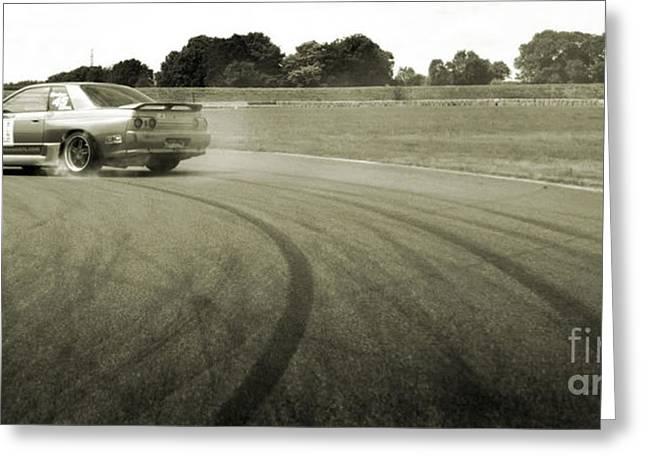 Smoke Greeting Cards - DRIFTING TRACKS japanese car drifting round a corner with tyres smoking Greeting Card by Andy Smy