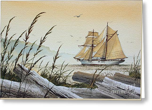 Tall Ship Canvas Greeting Cards - Driftwood Bay Greeting Card by James Williamson