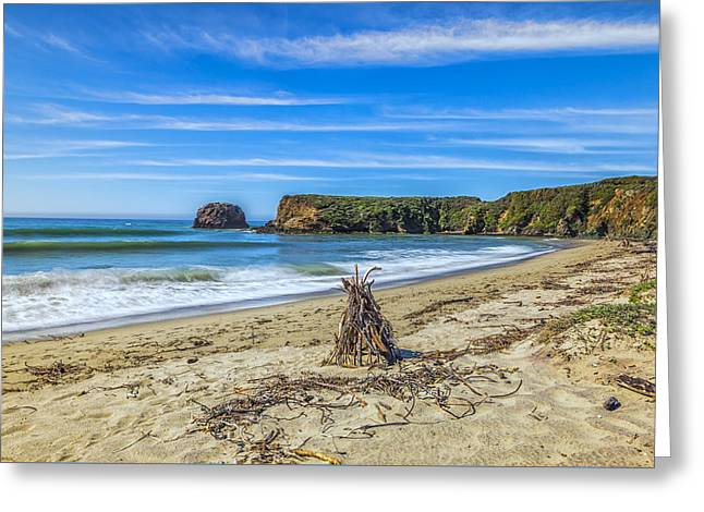 Big Sur Greeting Cards - Driftwood Teepee Greeting Card by Joseph S Giacalone