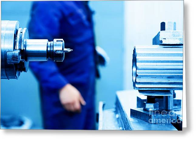 Cnc Greeting Cards - Drilling and boring machine at work Greeting Card by Michal Bednarek