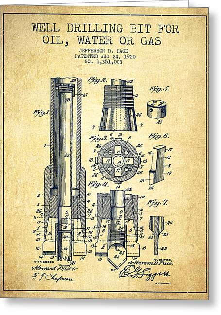 Wells Greeting Cards - Drilling Bit for Oil Water Gas Patent From 1920 - Vintage Greeting Card by Aged Pixel