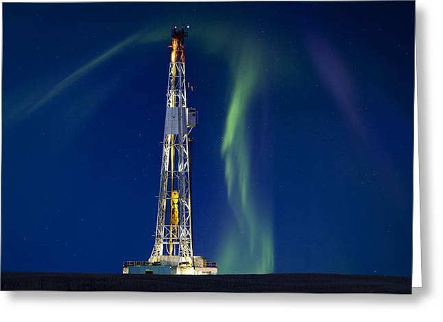 Smoke. Greeting Cards - Drilling Rig Saskatchewan Greeting Card by Mark Duffy