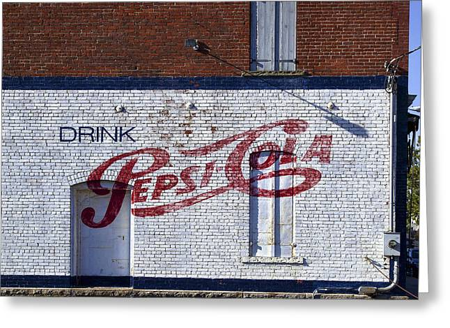 Pepsi Cola Greeting Cards - Drink Pepsi-cola Antique Sign Greeting Card by Daniel Hagerman