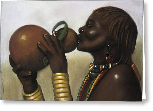 African-american Pastels Greeting Cards - Drinking Gourd Greeting Card by L Cooper