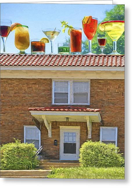 The Houses Greeting Cards - Drinks on the House Greeting Card by Nikolyn McDonald