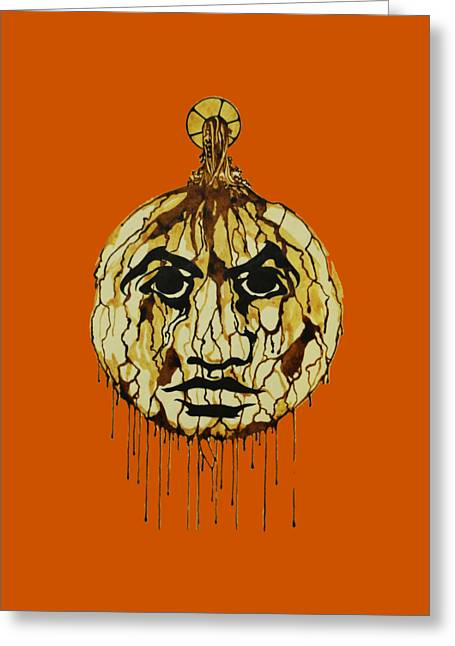 Drip Drawings Greeting Cards - Drip Face Greeting Card by Daniel P Cronin