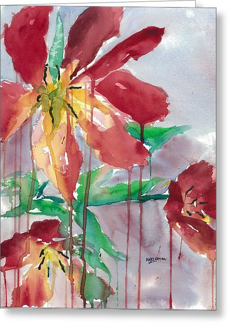 Drippy Tulips Greeting Card by Mary Lomma