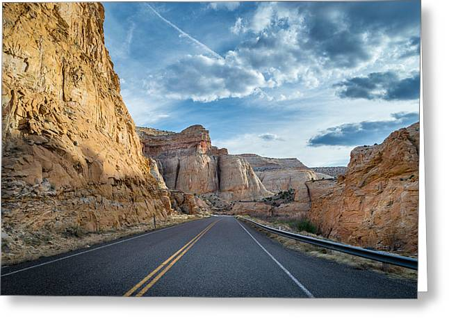 Drive Into Capitol Reef National Park Greeting Card by Michael J Bauer