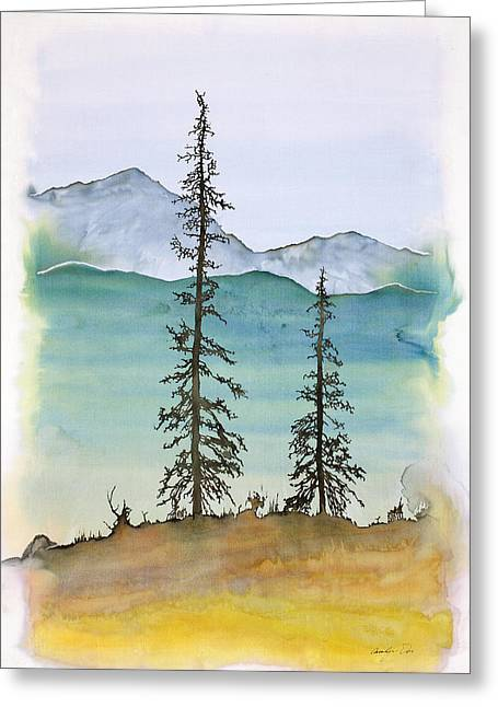 Trees Tapestries - Textiles Greeting Cards - Drive to Eagle and sketching on a bumpy road Greeting Card by Carolyn Doe