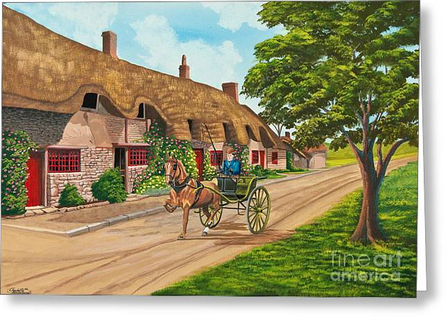Driving a Jaunting Cart Greeting Card by Charlotte Blanchard