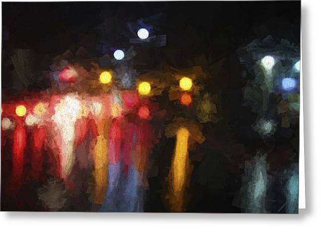 Abstract Rain Greeting Cards - Driving In the Rain Greeting Card by Karen Jensen