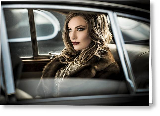 Oldtimer Greeting Cards - Driving The Diva To The Event.... Greeting Card by Peter Muller Photography