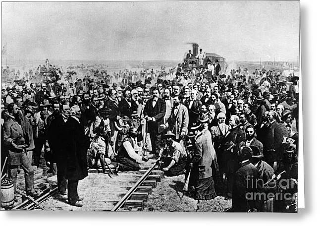 Science Collection - Greeting Cards - Driving The Golden Spike May 10 1869 Greeting Card by Photo Researchers