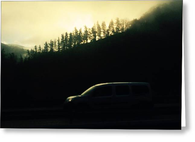 Driving Through The Fog Greeting Card by Contemporary Art