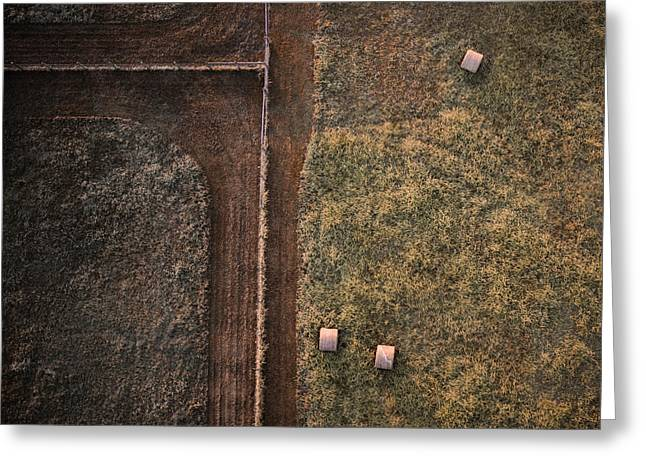 Hay Bales Greeting Cards - Drone Farm Photo Greeting Card by Spencer Cox