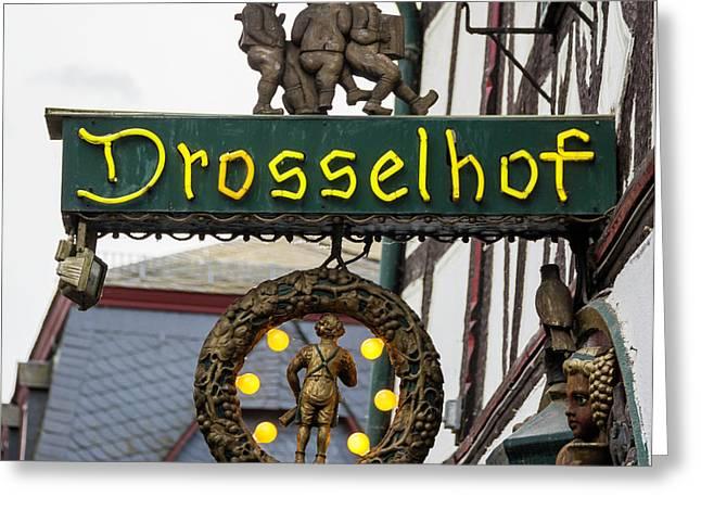 Drosselhof Neon Sign Greeting Card by Teresa Mucha