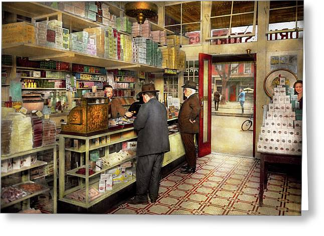 Drugstore - Exact Change Please 1920 Greeting Card by Mike Savad