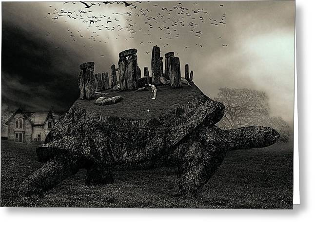 Druid Golf Black And White Greeting Card by Marian Voicu