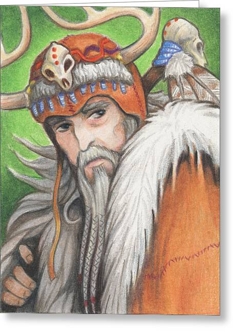 Primitive Drawings Greeting Cards - Druid Priest Greeting Card by Amy S Turner