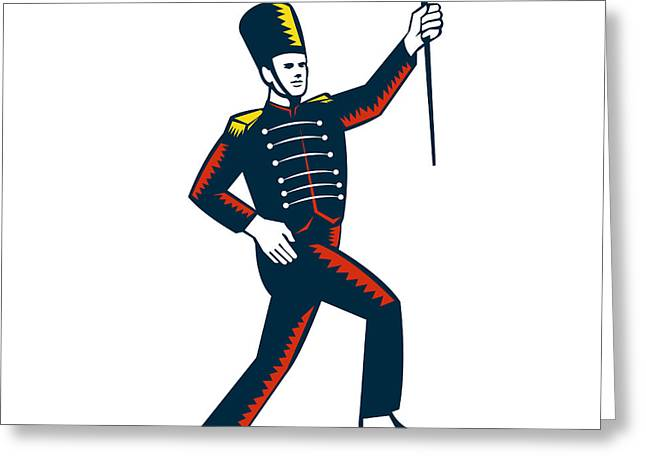 Linoleum Greeting Cards - Drum Major Marching Band Leader Woodcut Greeting Card by Aloysius Patrimonio