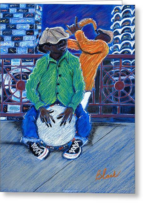 Chicago Pastels Greeting Cards - Drummer Boy Greeting Card by Charlie Black