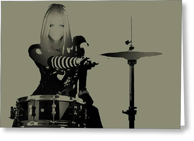 Makeup Greeting Cards - Drummer Greeting Card by Naxart Studio