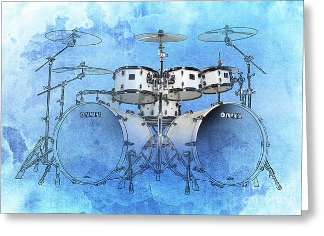 Drums Blue Background Greeting Card by Pablo Franchi