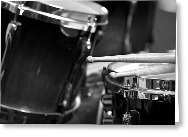 Drummer Photographs Greeting Cards - Drumsticks and Drums in Black and White Greeting Card by Rebecca Brittain