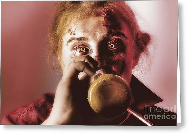Tankards Greeting Cards - Drunk ghoul sculling beer at Halloween party Greeting Card by Ryan Jorgensen
