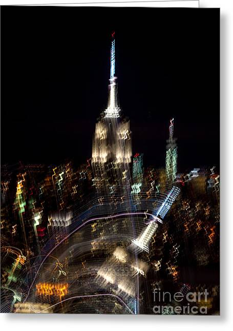 New York Photo Greeting Cards - Drunk Town Greeting Card by Az Jackson