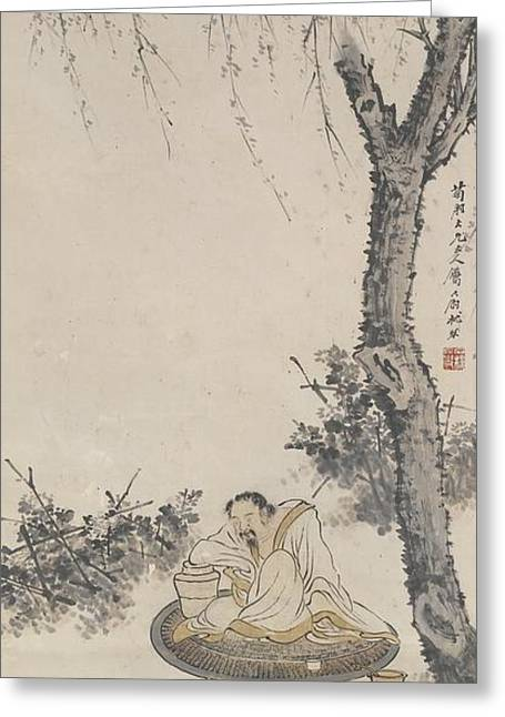 Su Greeting Cards - Drunken Tao Yuanming With Chrysanthemums Greeting Card by Celestial Images