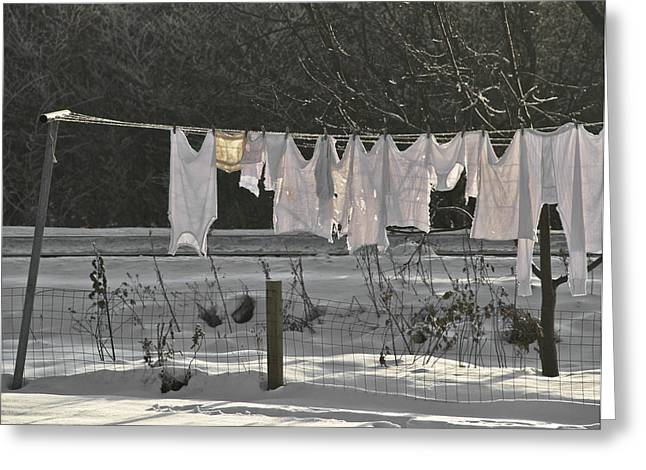 Long-underwear Greeting Cards - Dry By April Greeting Card by Odd Jeppesen