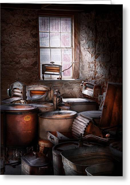 Wash Tubs Greeting Cards - Dry Cleaner - Put you through the wringer  Greeting Card by Mike Savad