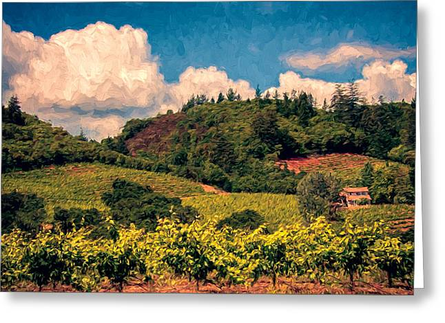 Dry Creek Valley Greeting Card by John K Woodruff